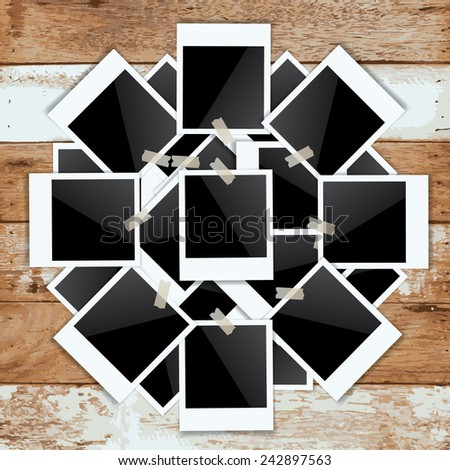 Abstract blank photo frame on vintage wooden background. Vector illustration. - stock vector