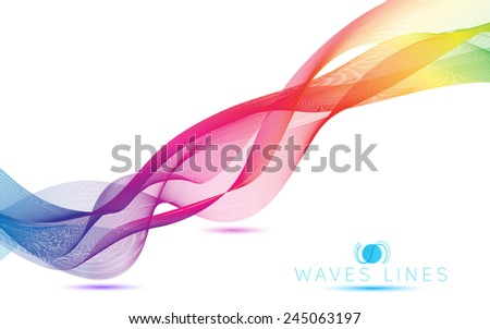abstract blend colorful waves gradient light  lines bright vector - stock vector