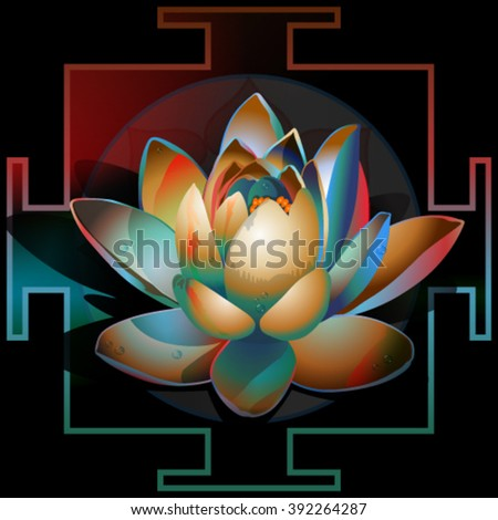 abstract blooming lotus circuit yantra on a black background - stock vector