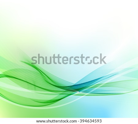 Abstract blue and green wavy lines.  Colorful vector background. - stock vector