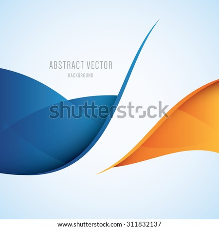 Abstract blue and orange waves modern vector background - stock vector