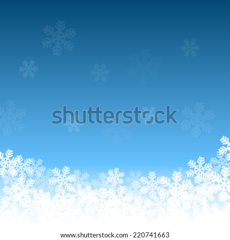 Abstract blue and white Christmas background with snowflakes - stock vector
