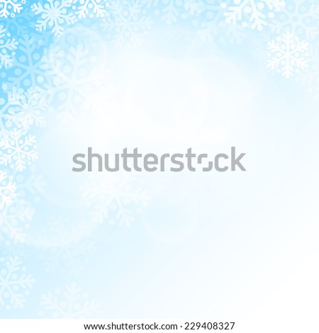 Abstract blue and white christmas snowflakes background with copy space - stock vector