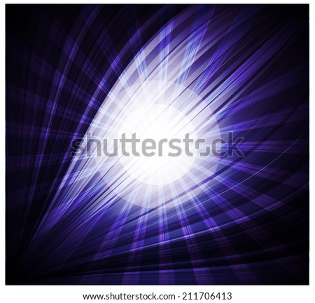 Abstract blue background Beautiful rays of light - stock vector