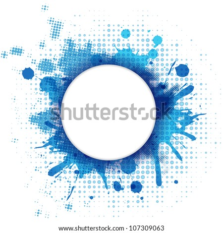 Abstract Blue Background With Blob And Bubble, Vector Illustration - stock vector
