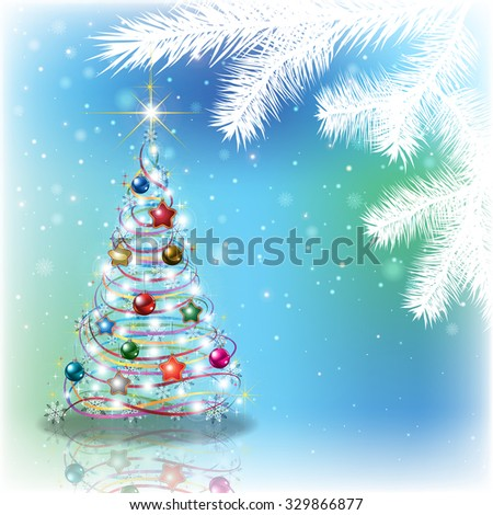 Abstract blue background with Christmas tree and decorations - stock vector
