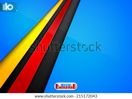 Abstract blue background with colored stripes - stock vector