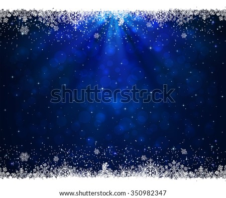 Abstract blue background with frame from snowflakes, illustration.  - stock vector