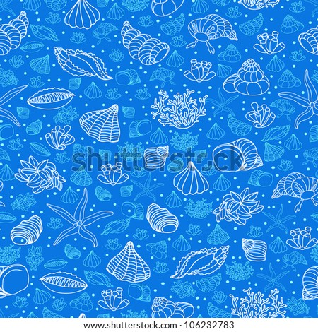 Abstract blue background with seashells, starfish and algae. Concept of seaside, resort, vacation, diving. Texture for print, wallpaper, textile, cover. - stock vector