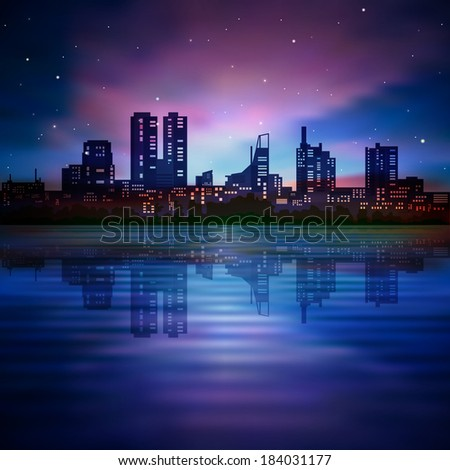 abstract blue background with silhouette of city and sunrise - stock vector
