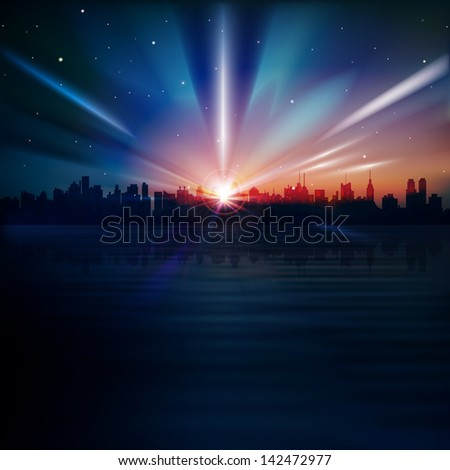 abstract blue background with silhouette of New York and sunrise - stock vector