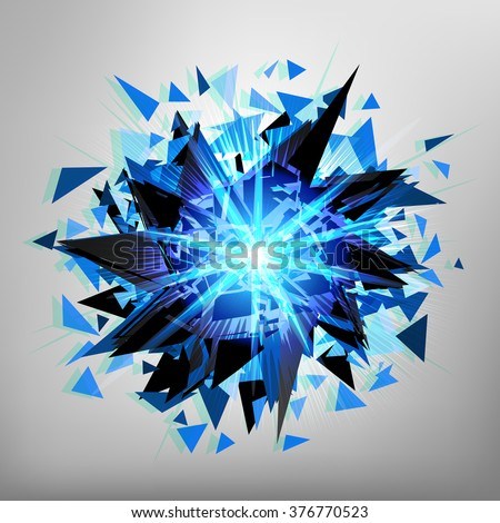Abstract blue bright explosion.Shine explosion background. Vector illustration. Dynamic background. - stock vector