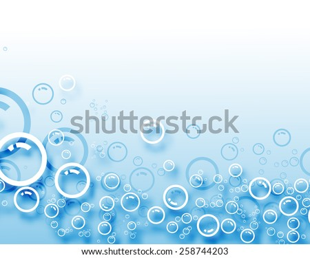 Abstract blue bubbles background. - stock vector
