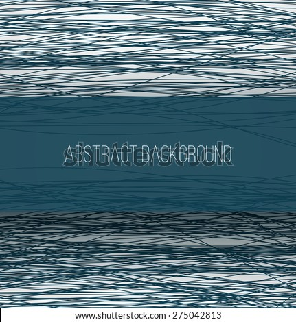 Abstract blue chaotic sketch lines background and rectangle banner with shadow. Vector illustration - stock vector
