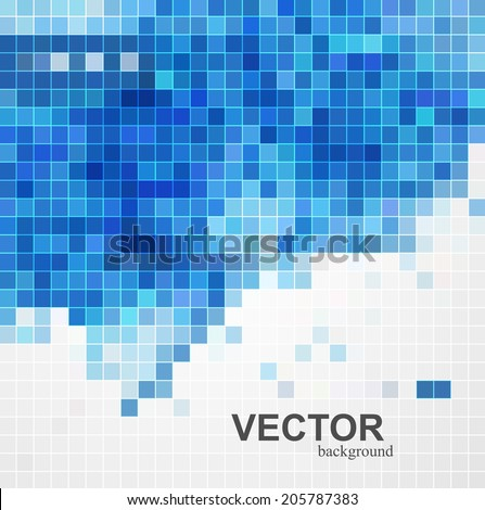 abstract blue colorful mosaic background design illustration - stock vector