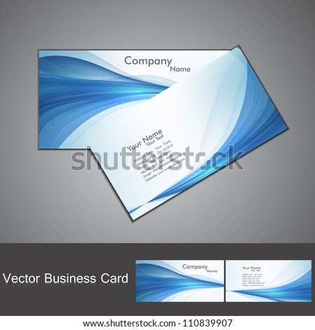 abstract blue colorful stylish wave business card set - stock vector