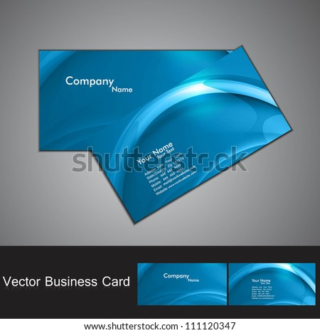 abstract blue colorful wave business card set design - stock vector