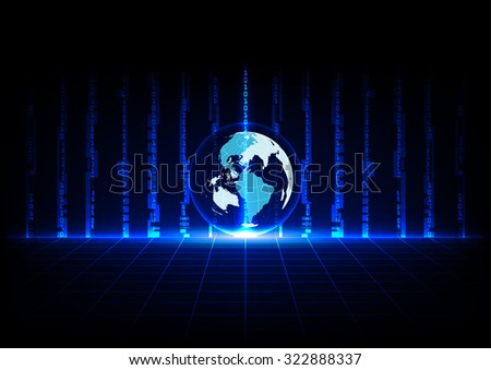 abstract blue concept technology and world with grids perspective design background - stock vector