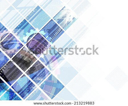 abstract blue cube vector technology background corporate communication texture for business - stock vector