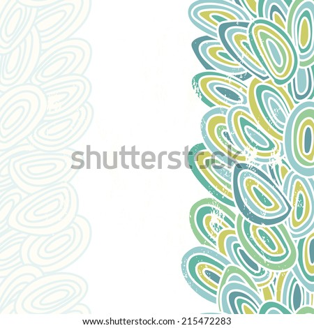 Abstract blue fishscale vertical seamless border .Vintage scrapes located on separate layer - stock vector