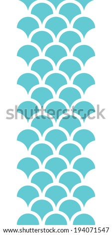 Abstract blue fishscale vertical seamless pattern background - stock vector