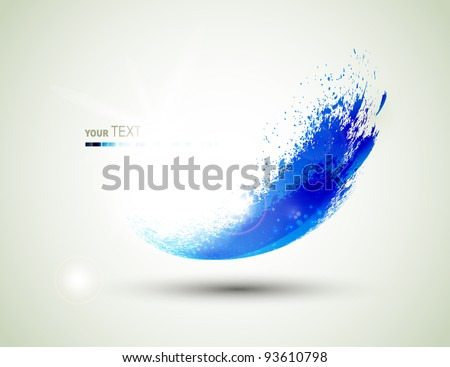 abstract  blue  flying blob - stock vector