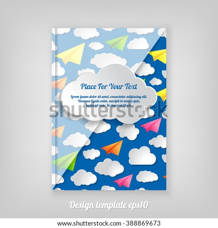 Abstract blue geometric cover design with pattern of paper airplanes with clouds, Brochure Design. Cover, Corporate Leaflet Template - stock vector