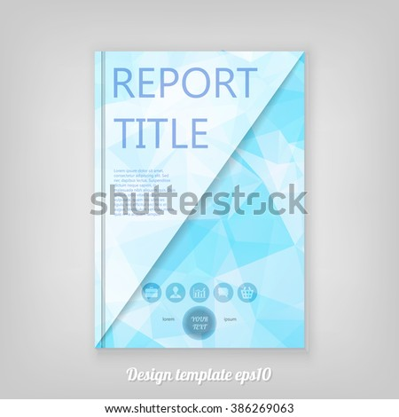 Abstract blue geometric cover design with triangular polygons, Brochure Design. Cover, Corporate Leaflet Template - stock vector