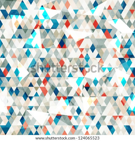 abstract blue glass triangles seamless with grunge effect - stock vector