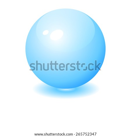 Abstract blue glossy sphere - stock vector