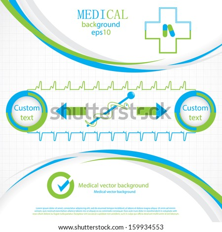 Abstract blue green grid medical background  - stock vector