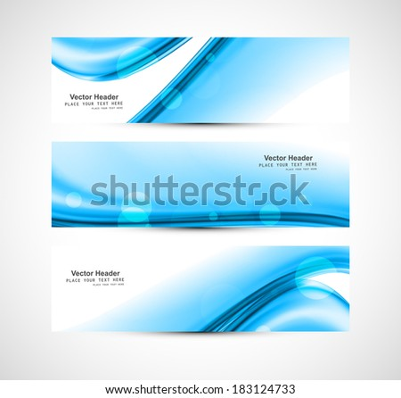 Abstract blue header stylish wave whit background vector illustration - stock vector