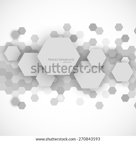 Abstract blue hexagons background in gray color vector illustration - stock vector