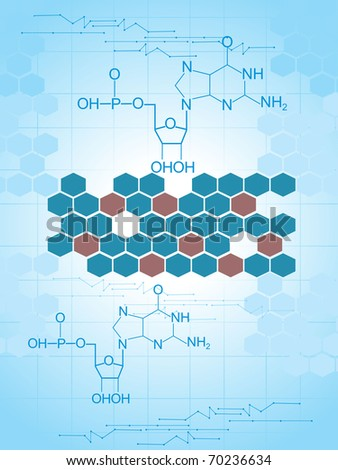abstract blue honeycomb background with chemical formula - stock vector