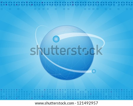 Abstract blue horizontal background with planet earth - stock vector