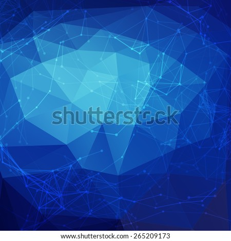 Abstract blue low poly bright technology vector background. Connection structure. Vector data science background. Polygonal vector background. Molecule And Communication Background. - stock vector