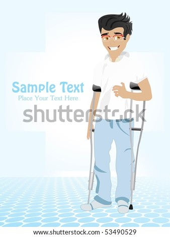 abstract blue medical background with disable person - stock vector