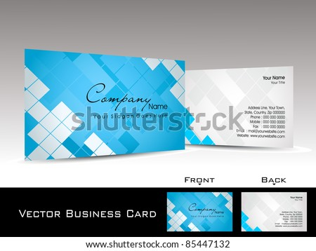 abstract blue mosaic pattern background corporate business card or visiting card - stock vector