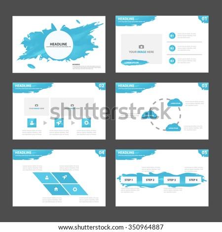 Abstract Blue presentation template Infographic elements flat design set for brochure flyer leaflet marketing advertising - stock vector