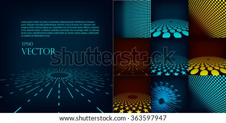 abstract blue, red and cyan digital vector background posters. Template gradient, circles dots effect. Flares, mesh and halftone. Design pattern for promotion, business and marketing glow illustration - stock vector