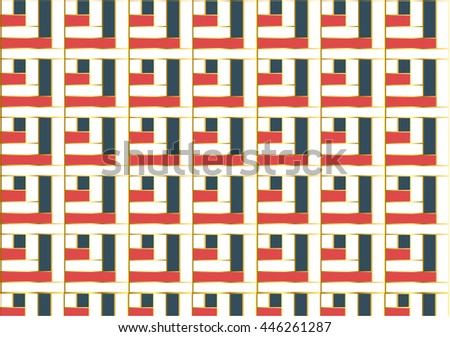 abstract blue, red, white, and gold weave pattern - stock vector