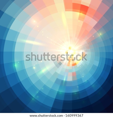 Abstract blue shining circle tunnel vector background - stock vector