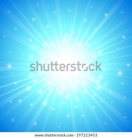 abstract blue sky and glitter light ray pattern background (vector) - stock vector