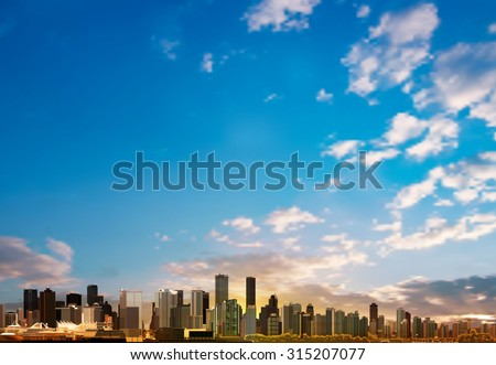 abstract blue sky background with panorama of city vector illustration - stock vector