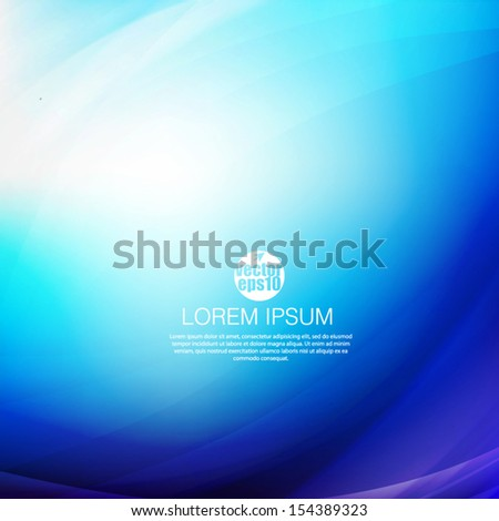 Abstract blue smooth flow background for modern design, vector illustration - stock vector