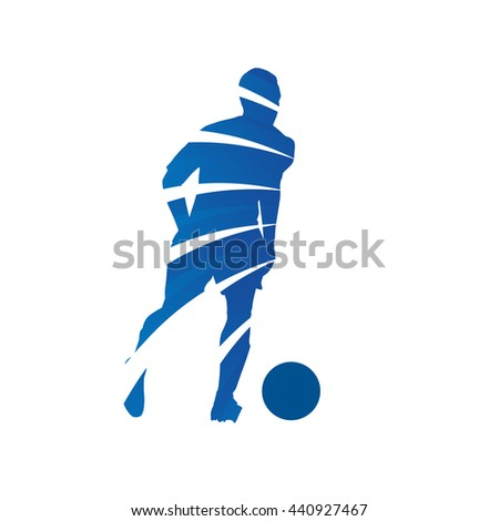 Abstract blue soccer player. Vector silhouette of running football player - stock vector