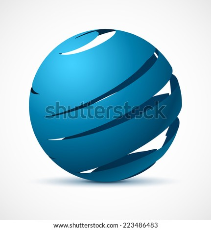 Abstract blue sphere with realistic shadow. Vector illustration. - stock vector