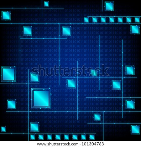 Abstract Blue Tech Background. Jpeg Version Also Available In Gallery. - stock vector