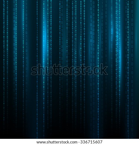 Abstract Blue Technology Background. Binary Computer Code. Programming / Coding / Hacker concept. Vector Background Illustration. - stock vector