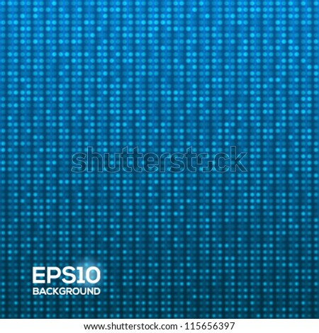 Abstract blue technology background with flashing pixels. Vector illustration. - stock vector